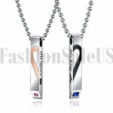 Stainless Steel His Queen Her King Matching Heart Tag Pendant Couple Necklace