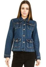 New Ladies Womens Vintage Blue Fitted Blazer Style Stretch Denim Jeans Jacket
