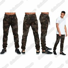New Mens Camouflage Skinny Fit Ruched Stretch Bottoms Gym Jogging Trouser Pants