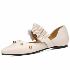 Girls Womens Faux Leather Ballet Flats Shoes Mary Janes Loafers Moccasin Pointed