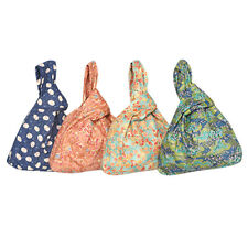 Women's Cute Cotton Tiny Floral Knot Bag Canvas Tote Small Size Handbag