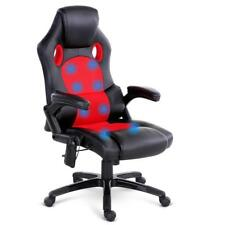 NEW 8 Point Massage Racer PU Leather Office Chair Black Red