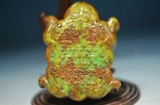 Delicate Chinese old green jade jade carved *Frog* statue/pendant ha15