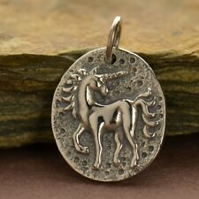 925 Sterling Silver Unicorn Ancient Coin Charm Fairytale Pendant Necklace 1435