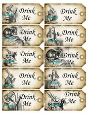 Alice in Wonderland 10 x Gift Tag Food Label Party - Drink Me - Wedding Craft