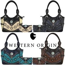 Western Tooled Leather Purse Feather Country Handbag Women Shoulder Bag  Wallet