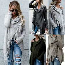 UK Womens Knit Long Sleeve Jumper Sweater Cardigan Ladies Fringe Shawl Tops Coat