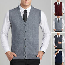 New Men's Knitted Buttons Sweater Sleeveless Vest V Neck Pullover Business Tops