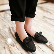 NEW Womens Ladies Flat Heels Shoes Block Bowknot Hollow Out Pumps AU Size YD4820