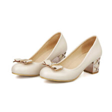 NEW Womens Faux Leather Middle Heels Shoes Wedge Bowknot Pumps AU Size YD2179