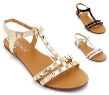 WOMENS LADIES STUDDED GLADIATORS SUMMER PARTY SANDALS BEACH FLAT SHOES SIZE
