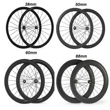 700C 24 38 50 60 88mm Deep Novatec 271/372 Hub Clincher or Tubular Carbon Wheels