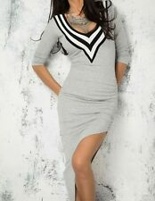 Grey & White Asymmetrical Long Sleeve Dress- Casual-Soft & Stretchy- Fits 10-12