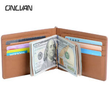 Wallet slim money clip credit card holder ID business mens soft leather brown