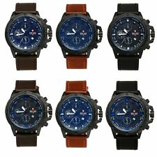 Mens Sports Military Army Date Watches Leather Band Quartz Analog Wrist Watch