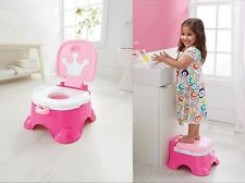 Potty Step Stool 3 In 1 Pink Baby Girl Seat Toilet Training Chair Kids Stepstool
