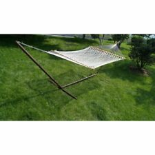 13 ft. Polyester Rope Double Hammock and Steel Stand Set