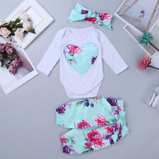 Toddler Girl Baby Floral Romper Bodysuit Jumpsuit +Pants+Headwear Outfit Set