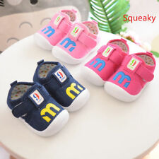 New Cute Baby Infant Squeaky Shoes Toddler Boy Girl Walking Shoes Fabric Size4-7