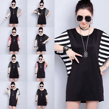 Women Splicing Round Neck Striped T-Shirt Tops Loose Batwing Sleeve Blouse I7238