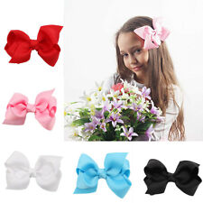 Cute Baby Girls Kids Bow Hair Headband Ribbon Bow Clip Alligator Party US Ship