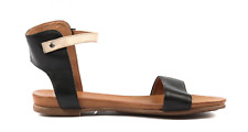New Arrival!EOS LARNELL BLACK leather flat sandal!RRP150! Made in Portugal! SALE
