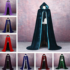 USA velvet hooded cloak wedding cape Halloween wicca robe coat Medieval Witchcra