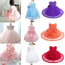 Lace Tulle Flower Girl Dress Wedding Easter Junior Bridesmaid Baptism Baby 0-24M