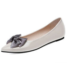 Quality Womens Pointed Ballet Flats Shoes Bow Patent Leather Fashion Casual Soft