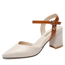 Womens Faux Leather Ankle Strap Pointed Toe Heel Sandal Shoes Platform Casual