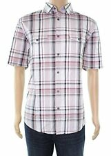 Alfani Mens Plaid Short Sleeves Button-Down Shirt, Red