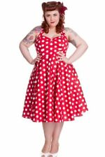Hell Bunny Plus Size Rockabilly Red and White Polka Dot Minnie Halter Dress