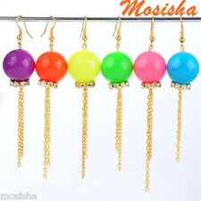 Lovely Candy Colors Ball Bead Metal Golden Tassel Dangle Crystal Earring Hook M