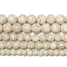 """5 Strand White Howlite Turquoise Smooth Round Gemstone Loose Spacer Beads 15"""""""