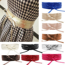 Women Soft PU Leather Wide Self Tie Wrap Around Obi Waist Band Cinch Boho Belt A