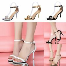 Womens High Block Heel Stiletto Ladies Peep Toe Ankle Strappy Sandals Shoes Size