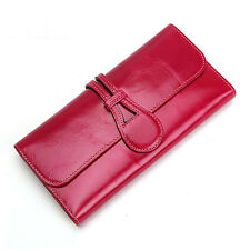 New Women Genuine Leather Trifold Long Wallet Purse Money Card Holder Clutch Bag