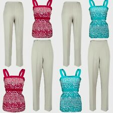 Ladies Summer Trousers Size 10 12 14 16 18 20 Top Summer 2PC Sleeveless Outfit