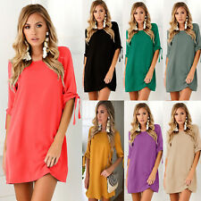 Womens T Shirt Dress Mini Summer Short Tie Sleeve Long Top Girls Crew Neck Jump