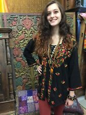 BOHO GYPSY HIPPIE TUNIC BLOUSE FLORAL EMBROIDERED BUTTON FRONT WOMENS TOP SHIRT