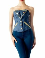iB-iP Women's denim navy uniform style bustier buttoned lace up Overbust Corset,