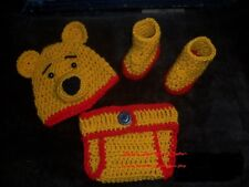 Crochet Winnie the Pooh Bear Diaper Set~Photo Prop~Booties Hat Cover 0-12mo
