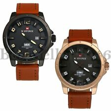 Military Army Leather Band Quartz Week Date Waterproof Mens Analog Wrist Watch