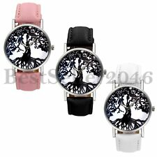 Fashion Womens Mens Life of Tree Pattern Dial Leather Quartz Analog Wrist Watch