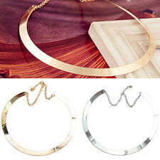 AL_ Girl Lady Perfect Thin Mirrored Collar Necklace Choker Gold Silver Plated Ci