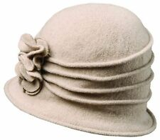 New Scala Women's Boiled Wool Cloche Hat with Flower (LW497)