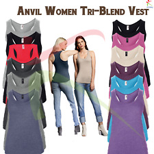 Anvil Womens Tri-blend Racerback Tank Top Ladies Soft Sleeveless Athletic Vest T