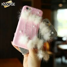 Luxury Cute Pearl Plush Water Mink Chain Back Phone Case Cover For iPhone 6 7