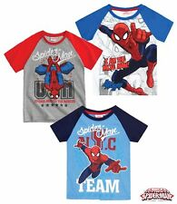 Boys Short Sleeve Spider Man T-shirt officially Licensed Grey Blue White  4-10