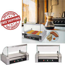 Commercial 30 Hot Dog 11 Roller Grilling Machine w/ Cover 1200-Watt Grill Cooker